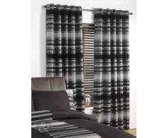 Just Contempo - Cortinas con Ojales (Chenilla y Seda sintética), diseño a Rayas, poliéster, Negro, Gris, 1 x Funda de cojín, 45,7 x 45,7 cm