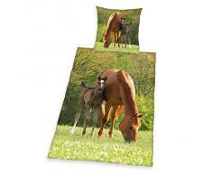 Herding 442428050 - Juego de funda nórdica y funda de almohada de linón con diseño de caballos, 135 x 200 y 80 x 80 cm