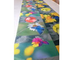 Antideslizante alfombra de cocina/corredor con mariposas y flores dimensiones 52 x 240 cm lavable a máquina hecho en Italia ácido Amarillo/Cian