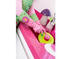 VIGAR Flower Power Guantes de Cocina, Material: composición 100% látex, Rosa/Verde, Dimensiones: 43 X 1 X 18 Cm
