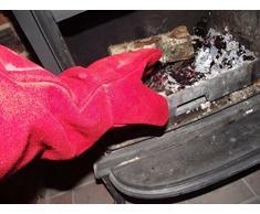 Guantes de resistente al calor de cuero quemador de leña, horno barbacoa de mesa, puede ser personalizado, canela (Rojo) - PAKLGG
