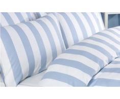 Louisiana - Funda Nórdica 100% Algodón de 200 Hilos Diseño Rayas Verticales Color Azul y Blanco