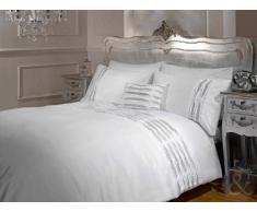 Just Contempo - Juego de funda nórdica y funda de almohada (algodón y poliéster), diseño a rayas, mezcla de algodón, blanco, matrimonio grande