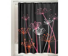 InterDesign Thistle Cortina de baño | Cortinas para baño grandes de 183,0 cm x 183,0 cm | Cortina de ducha de tela suave lavable | Con estampado de flores | Poliéster negro/rosa
