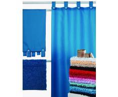 Atenas Home Textile Diamante - Cortina de baño con trabillas, color azul marino