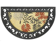 Felpudo robusto de alta calidad IMPALA FLOWER 45 x 75 cm. 60% Fibra de Coco natural y 40% caucho. 22mm. Semicirculo.