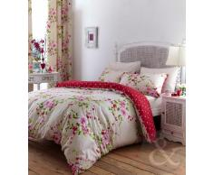 Just Contempo - Juego de funda nórdica y funda de almohada, de algodón y poliéster, diseño floral, King Size (diseño de flores), rojo, crema y rosa (vintage)