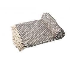 EHC – Algodón Suave Grande sofá Mantas Manta Doble Reversible Cama 150 x 200 cm, diseño de Silla, Color marrón