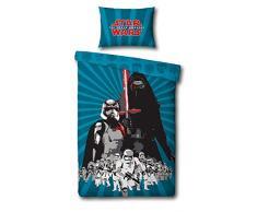 Sahinler 22010032 - Juego de ropa de cama para habitación infantil (funda nórdica de 140 x 200 cm, funda de almohada de 63 x 63 cm), diseño de Star Wars, color azul