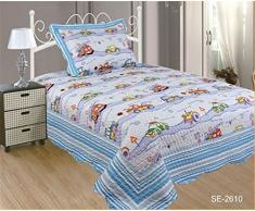ForenTex- Colcha bouti reversible, (SE-2610), cama 90 y 105 cm, 190 x 260 cm, Estampada cosida, Coches Niño, +1 funda cojín, colcha barata, set de cama, ropa de cama. Por cada 2 colchas o mantas paga solo un envío (o colcha