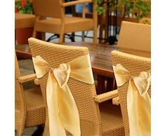 AUNMAS 50 unids Cubierta de la Silla Fajas Arcos de algodón Bowknot Silla decoración para Banquete de Boda recepción Banquete Adorno (2#)