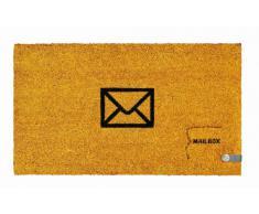 Young Generation YH 101371 Shoe Max - Felpudo de fibra de coco con PVC antideslizante, diseño de correo (74 x 44 cm), color amarillo