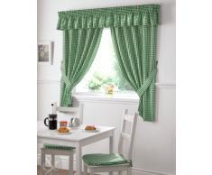 Just Contempo - Juego de cortinas para cocina, cenefa, pliegues, 33,2 x 26,4 x 1,4 cm, diseño de cuadros, color verde y blanco