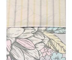 Just Contempo - Juego de Funda nórdica y Fundas de Almohada, diseño de Flores Reversible, Color Gris, Rosa y Beige, Mezcla de algodón, Pastel, Gris, Rosa, Beige, Crema, Matrimonio