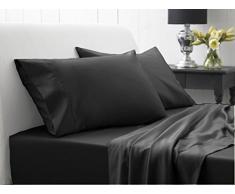 bedding- egipcio, 400 hilos 21 cm Con Bolsillo 4 piezas juego de sábanas cama de Attached UK King Negro Sólido 100% algodón egipcio