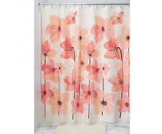 InterDesign Blossom Cortina de ducha decorativa   Cortina para bañera o plato de ducha de tela suave, 183 x 183 cm   Cortina de baño de diseño con estampado floral   Poliéster rosa