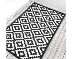 Green Decore Nirvana - Felpudo 120 x 180 cm Interior exterior , peso ligero, reversible eco rug, color negro / blanco