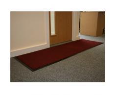 JVL – Heavy Duty Barrera antideslizante de goma respaldado puerta suelo Mat, vinilo, rojo/negro, 60 x 150 cm, tamaño grande
