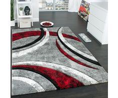 Paco Home Alfombra De Diseño con Ribetes Estampado con Rayas Gris Negro Rojo Moteada, tamaño:120x170 cm