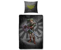 Character World - Juego de Ropa de Cama Reversible The Legend of Zelda, 135 x 200 cm 80 x 80 cm, 100% linón de algodón con Cremallera, Zelda Link, 135 x 200 cm