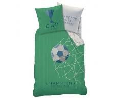 Fútbol Niños Juego de cama · Copa Cup & Champions Club · Red para portería Goal · Diseño reversible · verde – Almohada 80 x 80 + Funda Nórdica 135 x 200 cm – 100% algodón