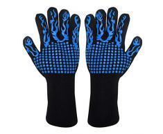 UPKOCH 1 par de guantes de cocina resistentes al calor de manoplas de horno de silicona profesionales largas (azul)
