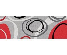 ID mate 40116 diseño de lujo gráficos geometría-Alfombrilla de cocina poliéster y fibra de nailon y caucho, color Gris, 116 x 40 x 0,8 cm