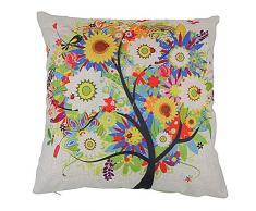 Fundas de Cojines Algodón de Lino Decorativos Sofá Árbol de la Vida de Colores Funda de Almohada (18*18 inch)