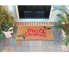 EHC feliz Navidad y Holly decorativo de goma/fibra de coco y PVC Puerta de entrada alfombra, rojo/verde, 40 x 70 cm