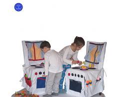 Dazoriginal Juguetes de cocina cocina de los niños de la cubierta de la silla de los cabritos cocina portable de los cabritos el algodón 100% todo hecho a mano cada diseño único embroma 1-10 años Impresiones al azar Cocina