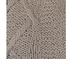 100% Punto Aran de algodón suave de lujo - manta para cama de 140 x 190 cm con manta tira 140 cm X 190 cm, 100% algodón, Natural ( beige latte brown ), 140cm x 190cm