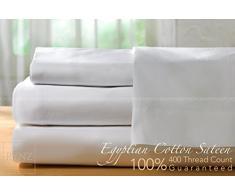 100% satén de algodón egipcio 400 hilos blanco juego de sábanas de todos los tamaños, blanco, matrimonio