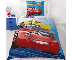 Cars cama infantil cama de verano · Disney Pixar Cars 3 · Race Ready Auto Diseño reversible Diseño en azul, rojo · 2 piezas · almohada 80 x 80 + Funda Nórdica 135 x 200 cm