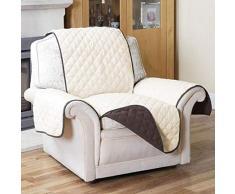 Tivedointv - Exclusivo y Suave Funda Acolchada para sillón Universal, Adaptable también en sillones reclinables de Doble Cara, Reversible, Color marrón y Blanco Crema
