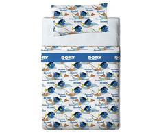 Disney Finding Dory Juego de sábanas, Algodón-Poliéster, Azul, Cama 80/95 (Twin), 200.0x90.0x25.0 cm, 3 Unidades