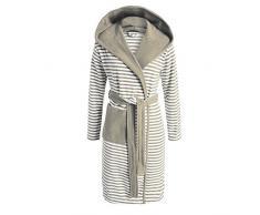 ESPRIT - Albornoz a rayas con capucha, color mocca, algodón rizado, marrón, medium