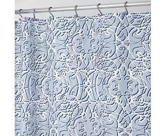 InterDesign Filigree Cortina de baño de diseño | Cortinas estampadas con dibujo geométrico de filigrana | Cortina de ducha de 183 x 183 cm de tamaño | Poliéster azul