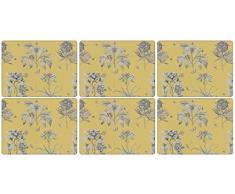 Pimpernel Etchings y rosas manteles individuales, madera, amarillo, pequeño, juego de 6