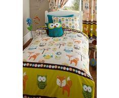 Cama infantil con diseño de criaturas del bosque Junior funda para nórdico incluye funda de almohada - con búhos y zorros