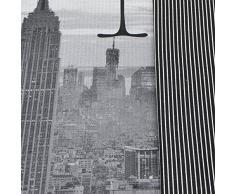 Juego de funda nórdica y funda de almohada reversible, diseño Nueva York, en blanco y negro, mezcla de algodón, negro, funda de edredón doble King size