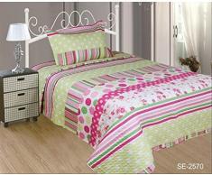 ForenTex- Colcha bouti reversible, (SE-2570), cama 90 y 105 cm, 190 x 260 cm, Estampada cosida, Niña Lunares, colcha barata, set de cama, ropa de cama. Por cada 2 colchas o mantas paga solo un envío (o colcha y manta), descuento