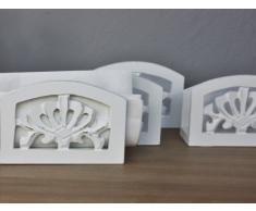 Servilletero de servilletas de papel blanco antiguo estilo rústico de madera de la mesa de estilo barroco y 1 pcs