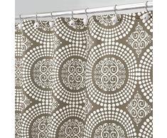 InterDesign Medallion Cortina de baño textil | Cortina para baño de 183 cm x 183 cm para bañera y plato de ducha | Cortina de ducha con borde superior reforzado | Poliéster marrón