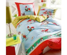 Kaeppel Linon - Juego de cama infantil (1 funda de edredón de 135 x 200 cm y 1 funda de almohada de 80 x 80 cm), diseño con hadas y gnomos