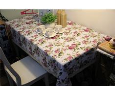 Pastoral Estilo Diseño de flores diseño de lino Mantel Antimanchas fácil de limpiar rectángulo para mesa mantel de comedor borla, Blanco, 36 x 36 Inch