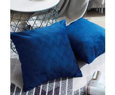 Topfinel juego 2 Fundas cojines sofas de Algodón Lino duradero Almohadas Decorativa de color sólido Para Sala de Estar sofás camas sillas 45x45cm Azul marino