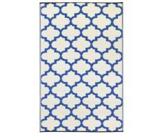 Fab Hab - Tangier - Alfombra para Exterior e Interior - Azul Regata y Blanco - (150 cm x 240 cm)