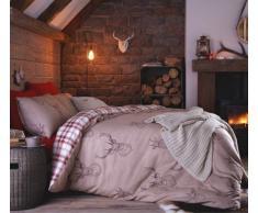 Funda nórdica de ciervo rojo diseño de cuadros de algodón ropa de cama juego de funda de edredón reversible país