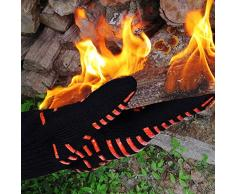 TTLIFE Guantes de Cocina para Horno, Barbacoa y Parrilla Guantes de Nomex y Kevlar Resistente al calor hasta 932°F( 500ºC) Flexibles/ Transpirables/ Lavables Permiten cocinar durante mucho tiempo a Altas Temperaturas- 1 Par (largo)