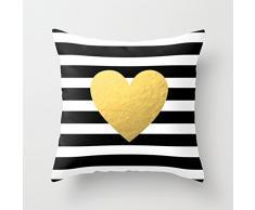 Patrón de rayas con forma de corazón y accent manta fundas de almohada lienzo fundas de cojín cuadrado con cremallera para sofá decorativo